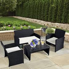 costway 4 pc rattan patio furniture set garden lawn sofa wicker