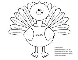 adding subtracting decimals thanksgiving color by number by