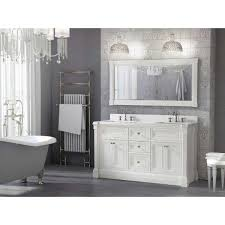 inch white finish double sink bathroom vanity cabinet with mirror