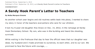 a sandy hook parent u0027s letter to teachers education writers