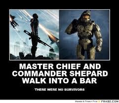 Master Chief Meme - master chief and commander shepard walk into a bar nerdom