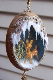 egg ornament deer diorama gold brown eggschells