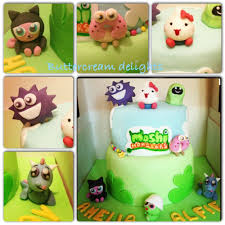 moshi monster two tier chocolate and vanilla birthday cake hand