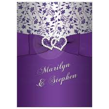 purple and silver wedding 25th wedding anniversary invitation purple silver floral