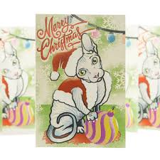 5 x sphynx cat christmas card