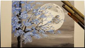 painting the moon blue tree timelapse