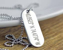 Mens Engraved Necklaces Coordinates Dog Tag Etsy