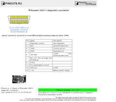 mitsubishi obd ii diagnostic connector pinout diagram