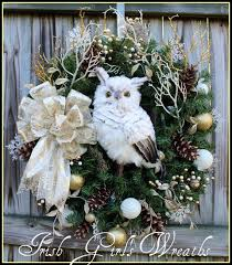 battery operated wreath pre lit winter by candlelight owl wreath woodland large ivory