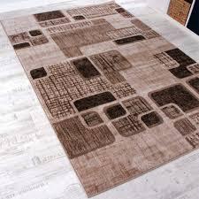 Wohnzimmer Retro Designerteppich Retro Muster Braun Design Teppiche