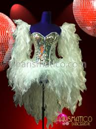 charismatico silver sequined corset and fire fringed fluffy white