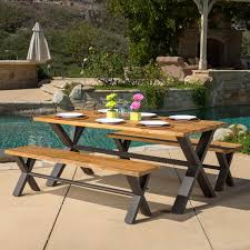 Best Patio Dining Set by A U0026 L Furniture Yellow Pine Traditional Picnic Table With 2