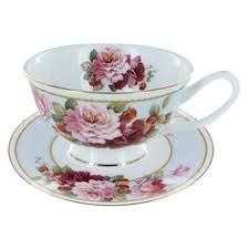 vintage bone china tea cup footed pink roses blue flowers royal