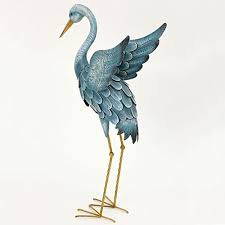 bits and pieces japanese blue heron metal garden sculpture set