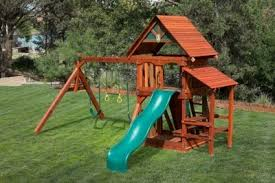 backyard wooden playsets with installation available