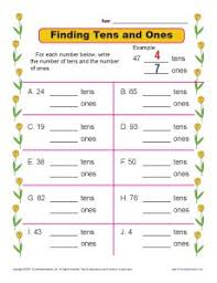 finding tens and ones place value worksheets for 1st grade