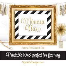 mimosa bar party sign black white gold glitter birthday