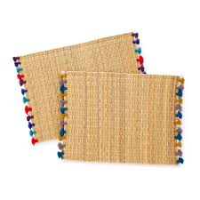 woven straw placemats with colored tassels handmade dining