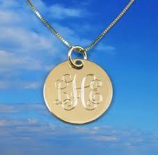 monogrammed pendant 14k solid gold monogrammed pendant