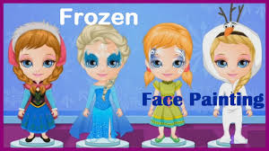 baby barbie game movies u0026 frozen face painting video play kids