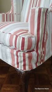 Cottage Style Slipcovers Woven Stripe Cotton Canvas In Shades Of Watery Blues Ideal For