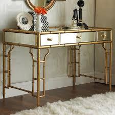Bamboo Vanity Gold Bamboo And Mirror Vanity Desk Shades Of Light
