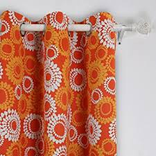 Orange Thermal Curtains Deconovo Printed Design Blackout Thermal Curtains