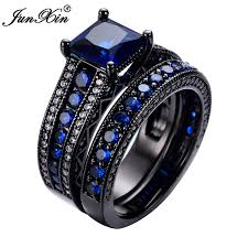 crystal jewelry rings images Junxin geometric blue ring sets black gold filled crystal jewelry jpg