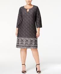 ny dress ny collection plus size printed keyhole shift dress dresses
