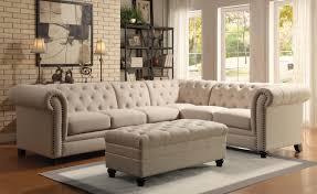 Armless Sofa Sleeper Coaster Roy Button Tufted Sectional Sofa With Armless Chair A1