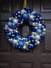 beautiful blue and silver ornament wreath shatterproof