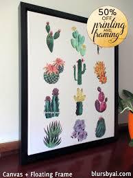 cacti illustration canvas print black floating frame 50 off