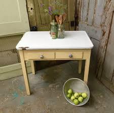 Yellow Enamel Top Table Small Vintage Farmhouse Kitchen Table - Farmhouse kitchen table with drawers
