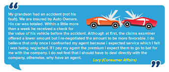 we are insured by auto owners his car was totaled within a little more than a week he received a check for the value of