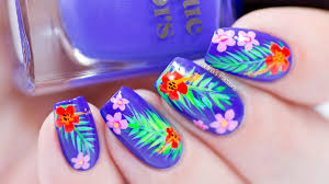 tropical summer nail art design with video tutorial
