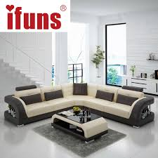 Modern Leather Living Room Furniture Ifuns China Export Modern Design L Shape Sectional Sofa Set Living