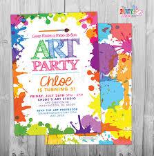 art paint party invitations printable birthday invitation