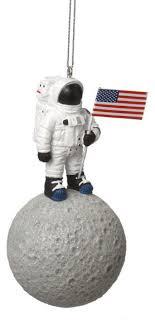 astronaut on moon tree ornament nasa space