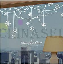 New Year Window Decoration by Free Ship Christmas New Year Snowflake Ring Wall Stickers Shop