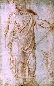 sketch of a man holding a staff and a st michelangelo