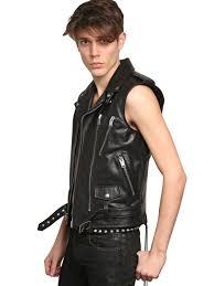 mens leather motorcycle vest saint laurent leather biker vest in black for men lyst