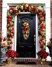 christmas garland around front door round designs