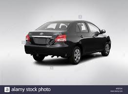 toyota yaris 2007 black 2007 toyota yaris in black rear angle view stock photo royalty