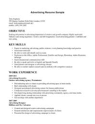 Sample Resume For Work Experience by Advertising Agency Sample Resume Haadyaooverbayresort Com