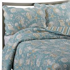 Seashell Queen Comforter Set Natural Shells Reversible Quilt In Blue Beige Bed Bath U0026 Beyond