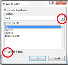 what is the excel shortcut for copy moving a tab from one