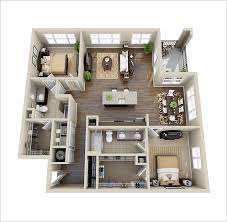 Design Of Cabinets For Bedroom 10 Awesome Two Bedroom Apartment 3d Floor Plans