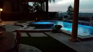 Infinity Pool Backyard by Custom Swimming Pool With Infinity Edge Spa Fire And Water Youtube