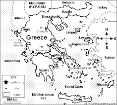 blank map of ancient greece map of greece quiz coloring printout answers enchantedlearning com