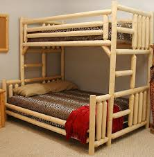 rustic cool double beds with bunk bed design in natural wood